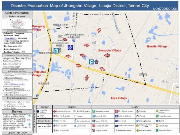 Disaster Evacuation Map of Jhongshe Village