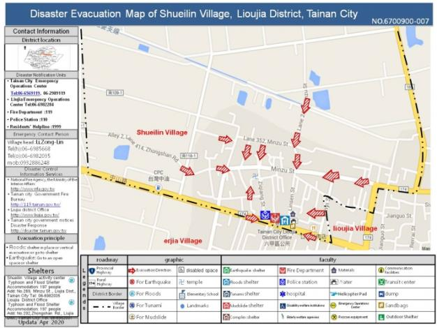 Disaster Evacuation Map of Shueilin Village