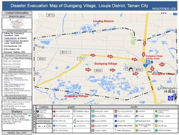 Disaster Evacuation Map of Gueigang Village