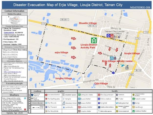 Disaster Evacuation Map of Erjia Village