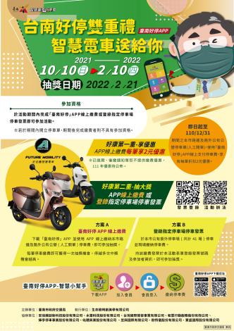 「台南好停雙重禮,智慧電車送給你」活動海報