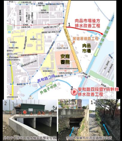 安南區長和路二段周邊排水改善示意圖