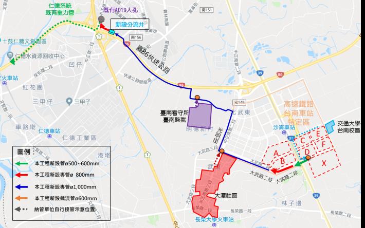 污水輸送專管及區外納管單位規劃路線圖