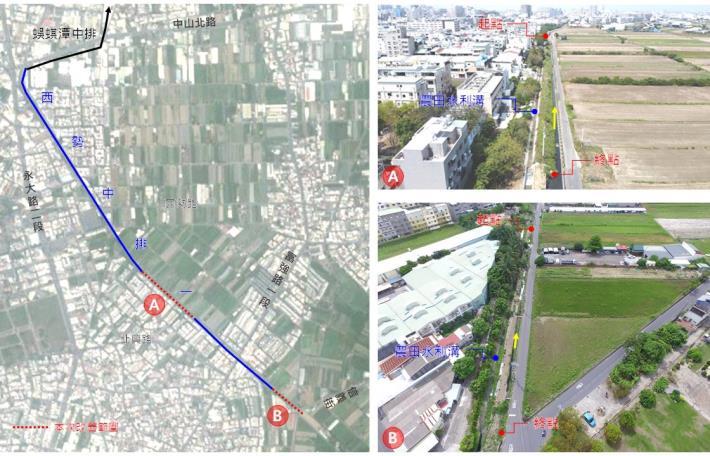 永康區西勢中排一(第四期)護岸治理工程計畫改善範圍圖