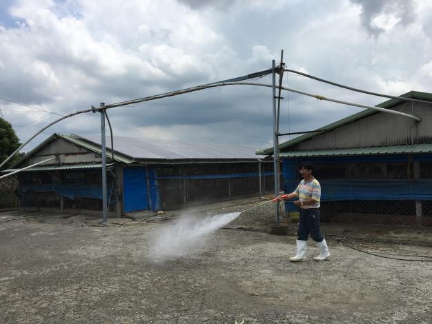 圖二、動保處提醒養畜禽業者加強颱風後的牧場防疫消毒,以防範疫病發生。