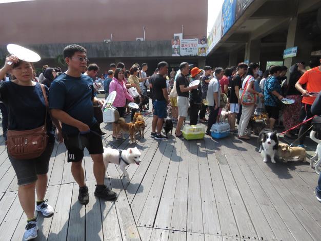活動中民眾排隊踴躍攜帶愛犬施打疫苗