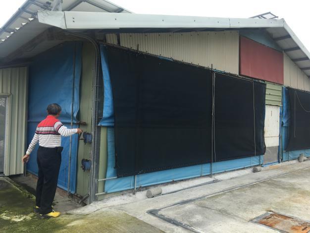 圖二:養禽業者適時調節禽舍帆布以防賊風進入