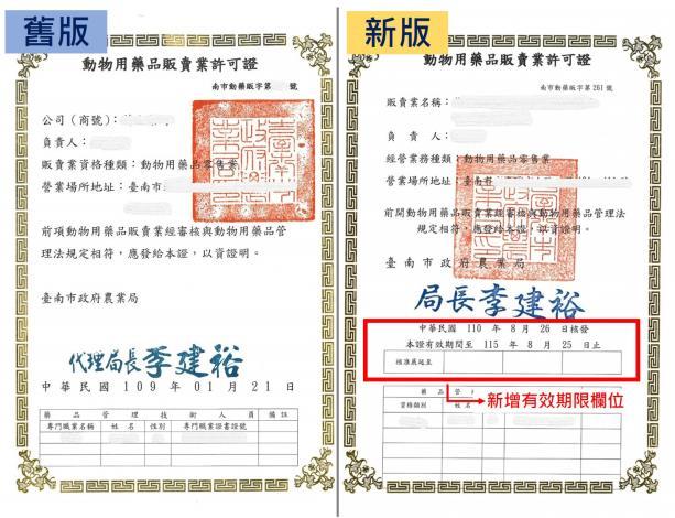 圖片1. 新式動物用販賣業許可證新增許可證有效期限欄位