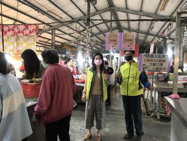 110年佳里黃昏市場東側市場防疫宣導照片