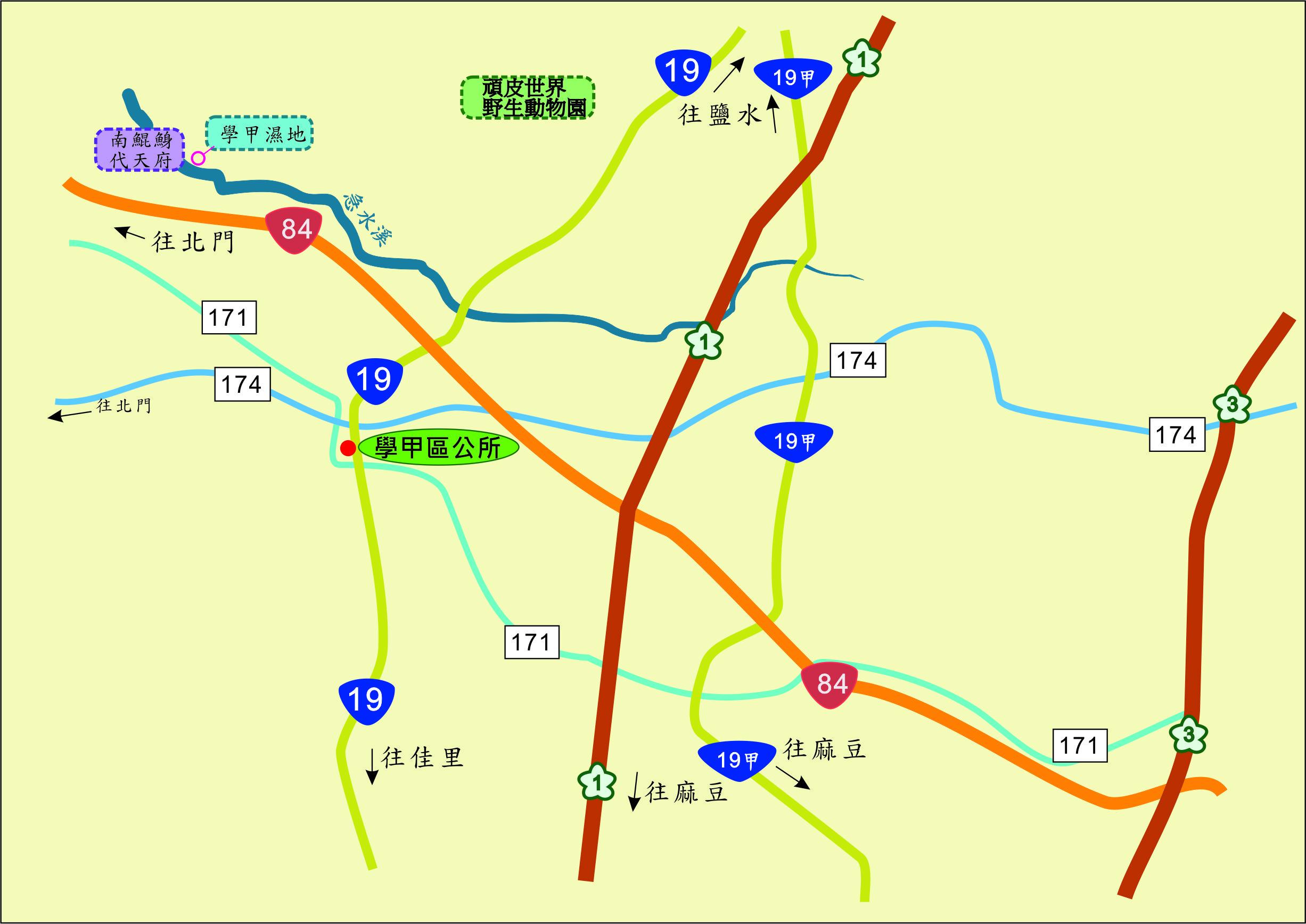學甲公所 交通位置圖