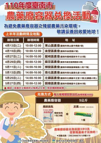 110年度臺南市農藥廢容器兌換活動海報