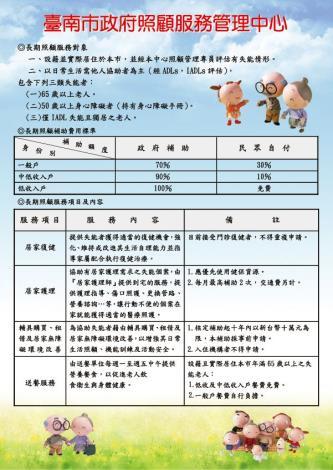 臺南市政府照顧服務管理中心業務宣導電子檔