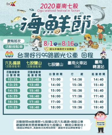 台灣好行99路觀光公車-六孔碼頭回程時刻表
