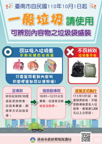 禁止使用不透明垃圾袋盛裝一般垃圾(海報)