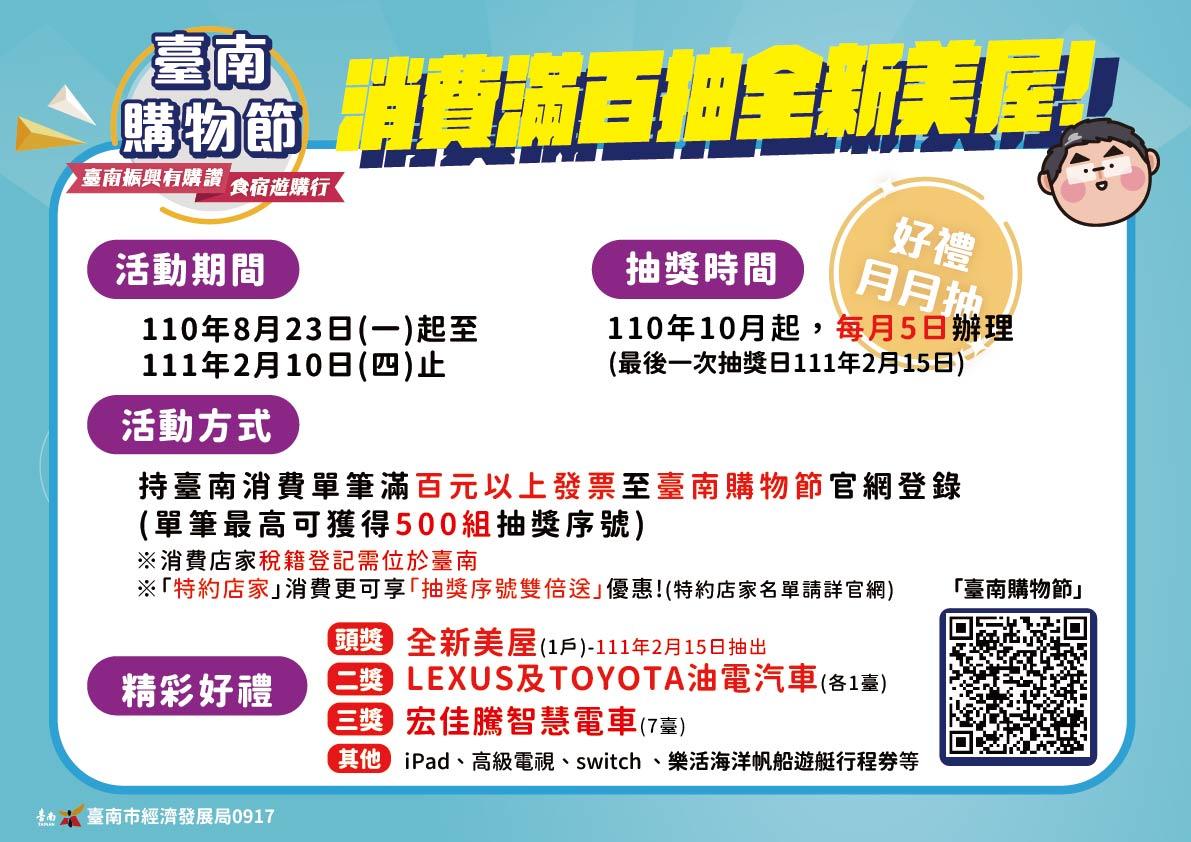 購物來台南!消費滿百發票登錄,月月抽好禮,最大獎全新美屋等你拿!