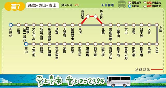 大台南公車黃線7號行駛路線圖-新營總站-聖賢-東河-東山-東原-青山