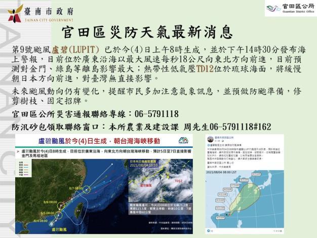 官田區盧碧颱風防災圖卡