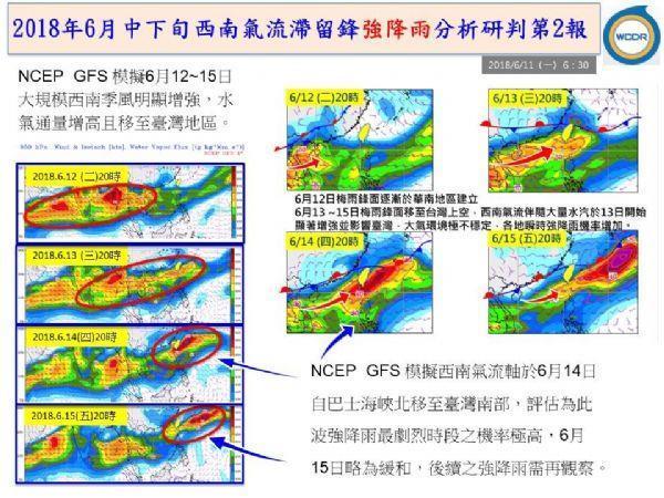 6月中下旬西南氣流滯留鋒強降雨警示氣流圖