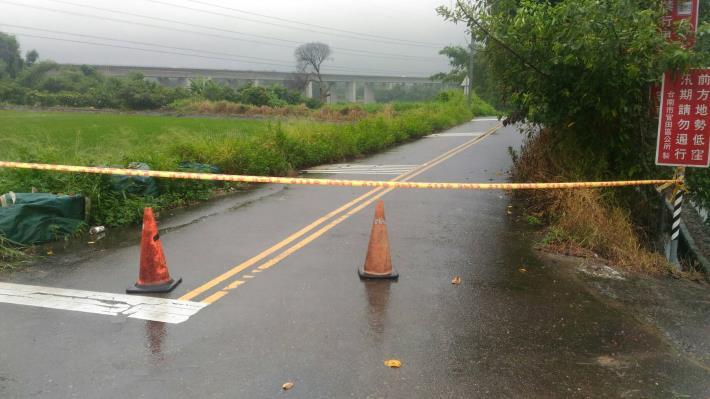 119線(社子往中脇路段)積水約15公分已進行封鎖
