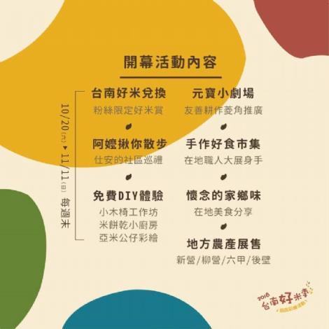2018台南好米季開幕活動內容