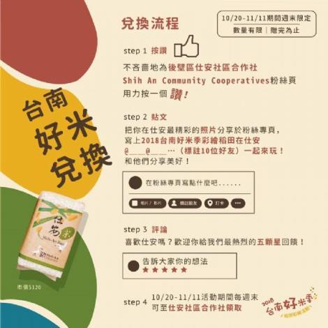 2018台南好米季兌換流程