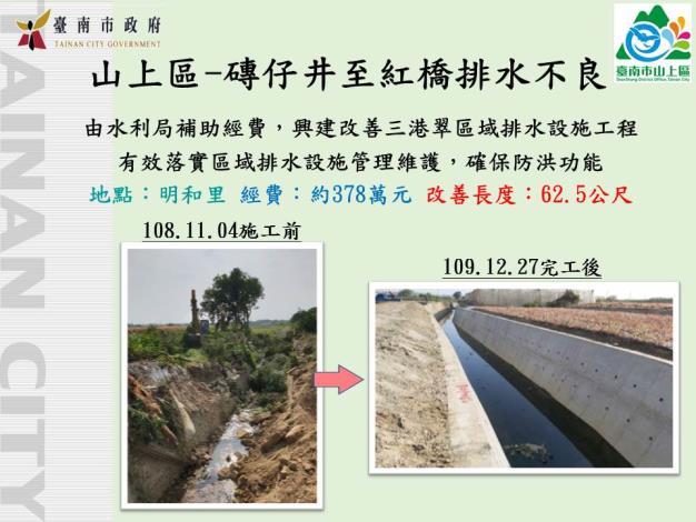 山上區-地方建設-磚仔井至紅橋排水不良改善