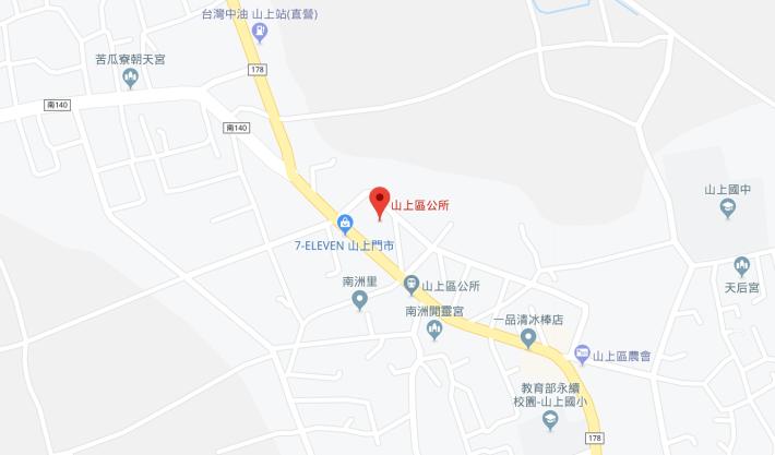 山上區公所位置圖(近)
