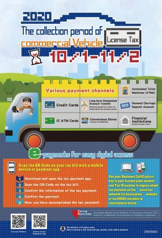 109年度下期營業用車輛使用牌照稅開徵宣導海報英文