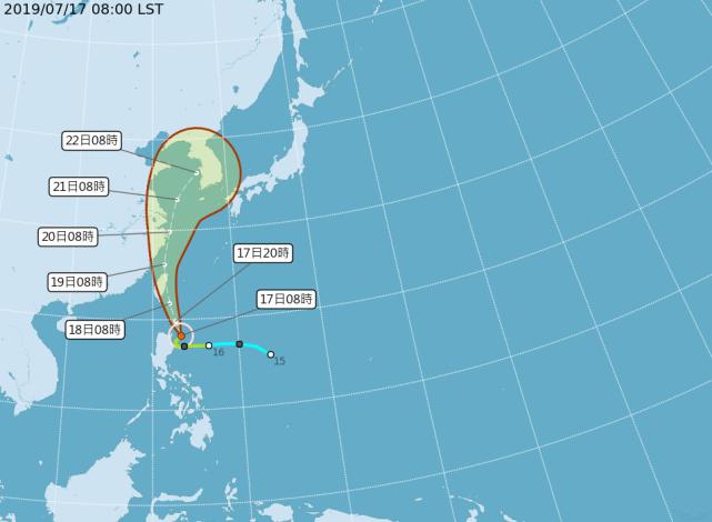 丹娜絲颱風路徑圖