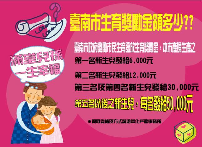 滿堂兒孫  一生幸福 臺南市政府生育獎勵金