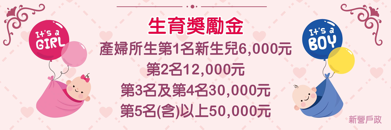 產婦所生第一名新生兒6000元第二名12000元第三名及第四名30000元第五名(含)以上50000元