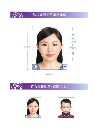 首次申請護照親辦一處收件全程服務--申辦晶片護照相片規格說明2