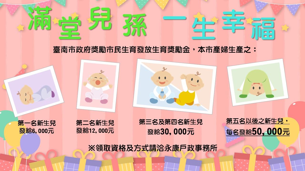 109年1月1日以後生產之第三名及第四名新生兒發給生育獎勵金30,000元;第五名以後之新生兒,每名發給50,000元