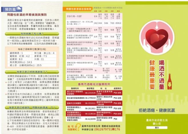 臺南市政府衛生局_喝酒不過量健康最重要衛教單張(正面)