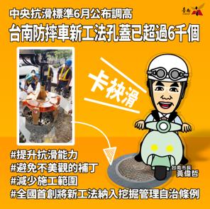 圖片文字為臺南防摔車新工法孔蓋已超過6千個。全國首創將新工法納入挖掘管理自治條例。