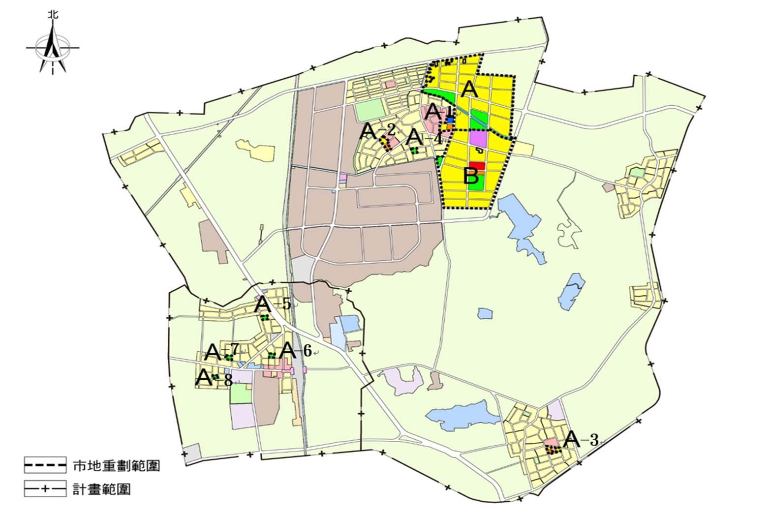 官田二鎮重劃區範圍示意圖