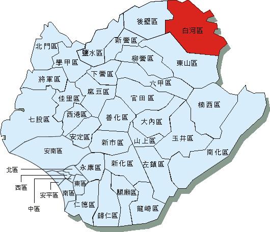 臺南市37區行政區域圖