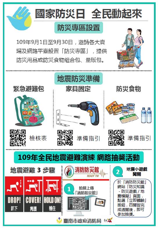 地震防災準備宣導及防災知識網路抽獎訊息海報