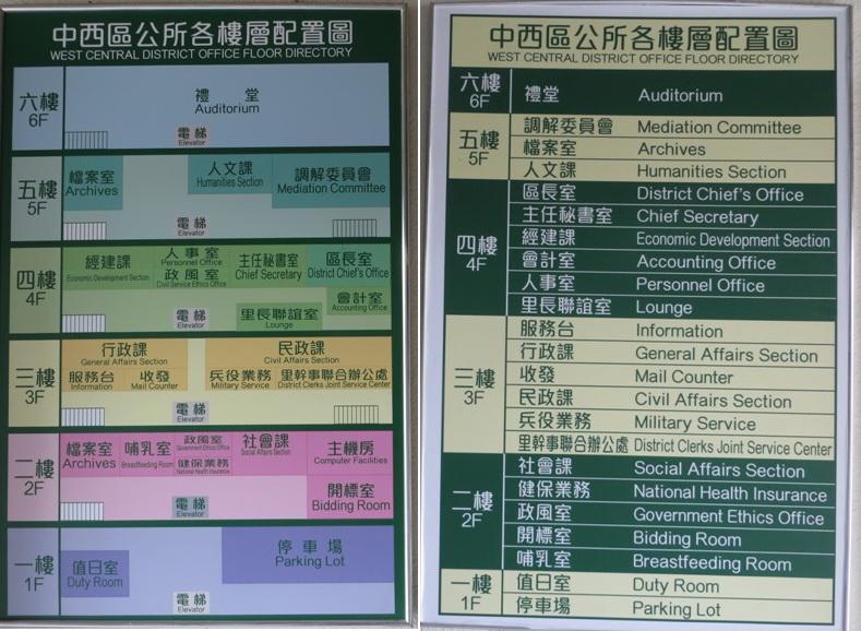 區公所各樓層配置圖