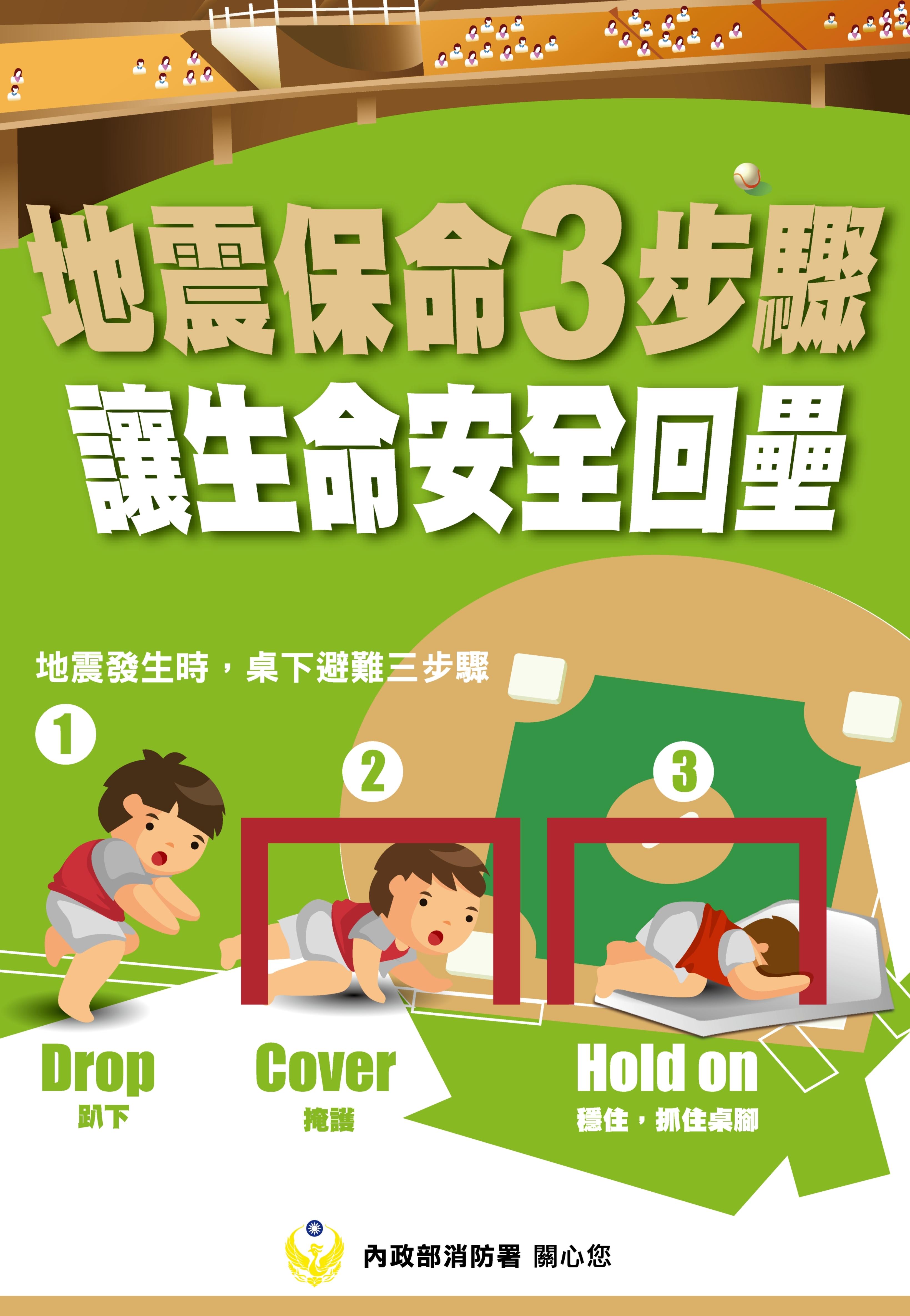地震保命三步驟