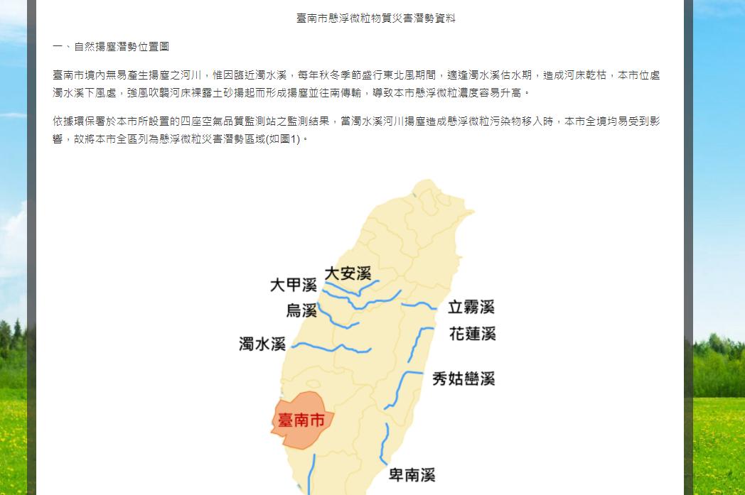 臺南市懸浮微粒物質災害潛勢資料