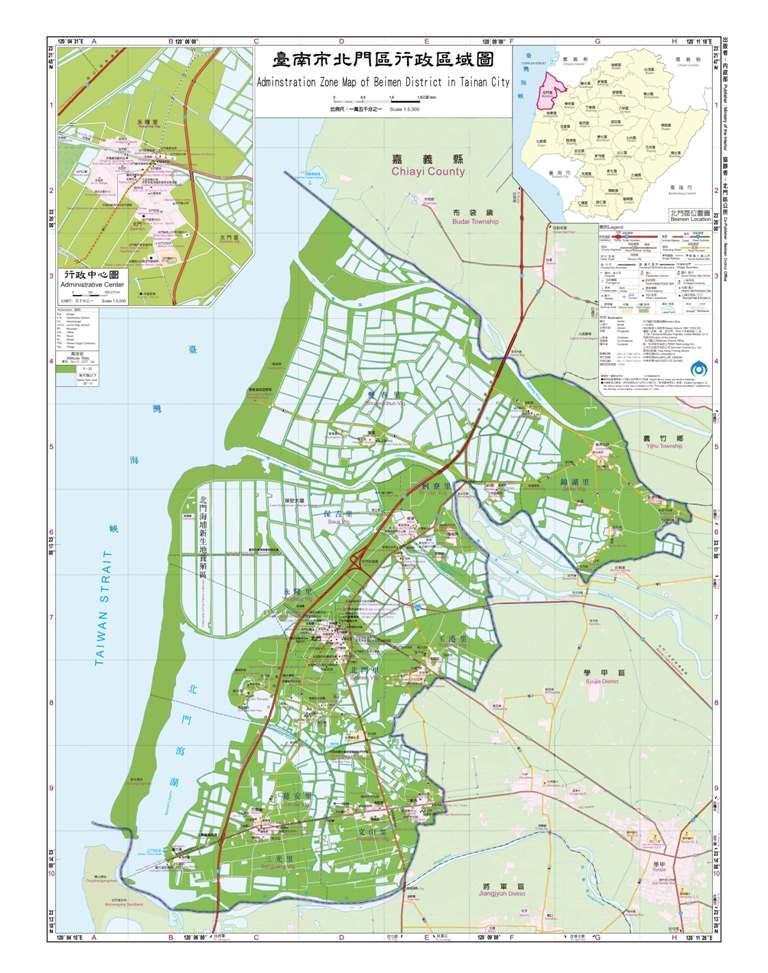 臺南市北門區行政區域圖
