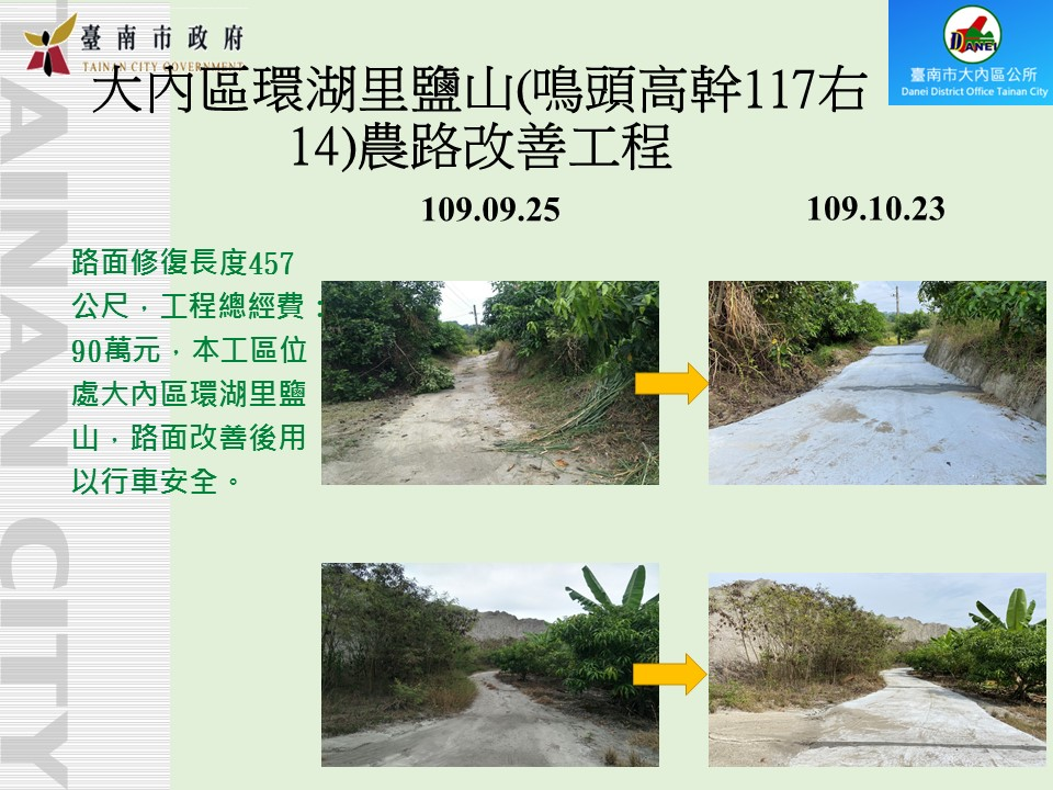 大內區環湖里鹽山(鳴頭高幹117右14)農路改善工程
