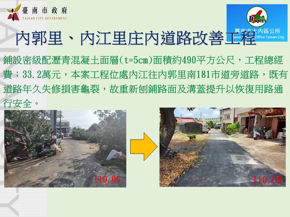 內郭里、內江里庄內道路改善工程