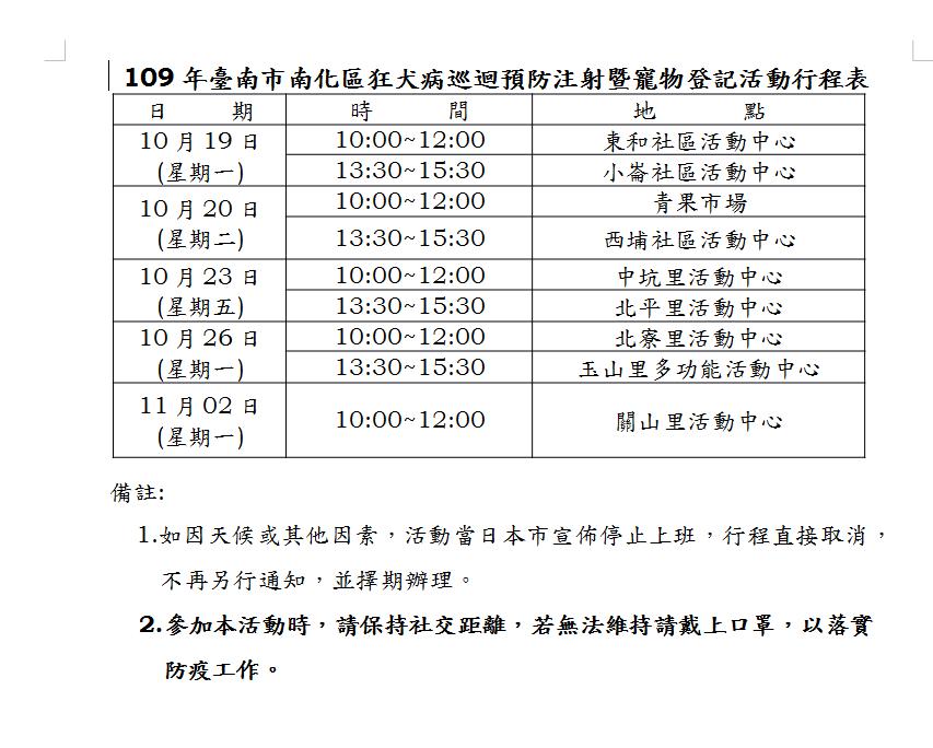 109年南化區狂犬病巡迴預防注射暨寵物登記活動行程表