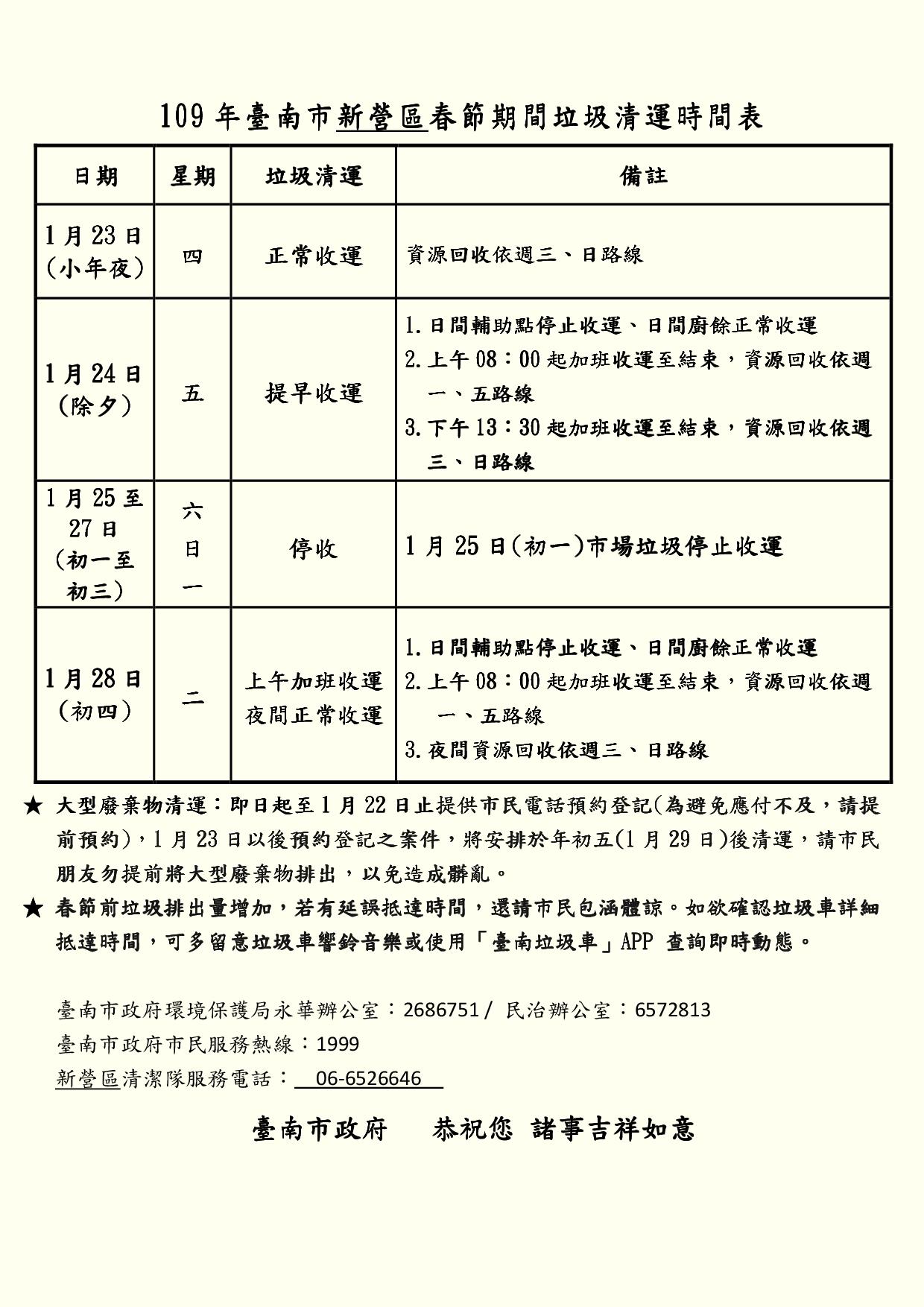 109年臺南市新營區春節期間垃圾清運時間表(更正版)
