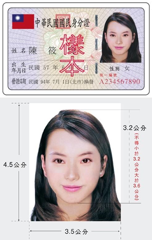 國民身分證樣本及相片規格