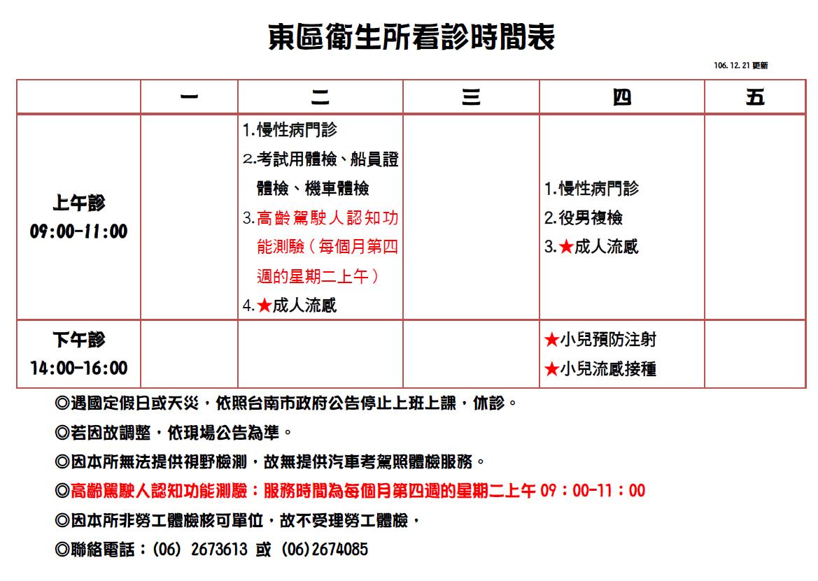 東區衛生所門診時間表